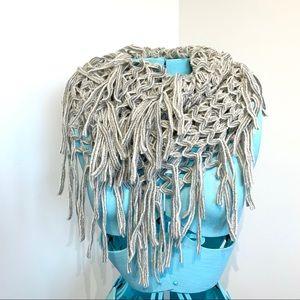 2chic fringe knit infinity scarf fisherman net